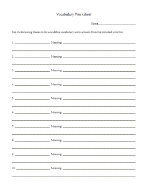 Free vocabulary worksheet reading for comprehension for Blank vocabulary worksheet template